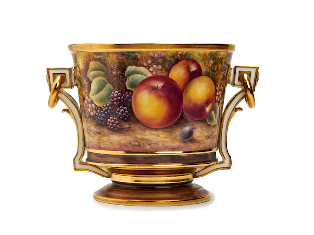 A Royal Worcester fruit-painted ice pail, painted by James Skerrett Circa 1970