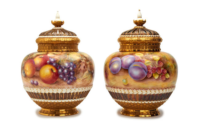 A pair of Royal Worcester fruit-painted pot pourri vases and covers, Painted by Harry Ayrton and Brian Leaman Post War