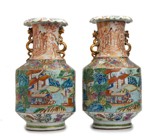 A pair of Chinese Canton famille rose vases Late 19th Century