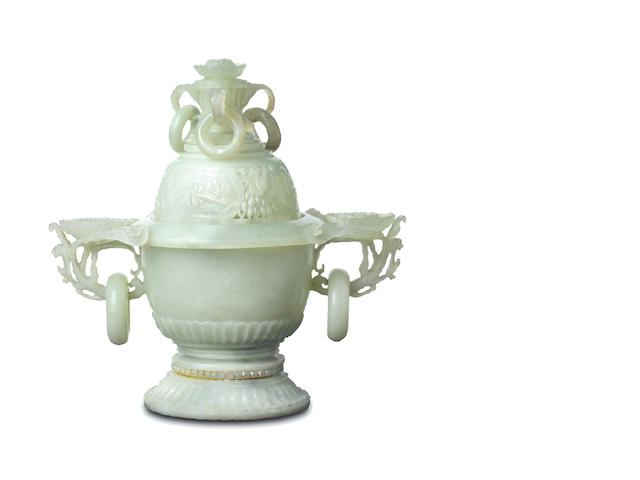A Mughal-style carved and reticulated jade censer and cover Qing Dynasty