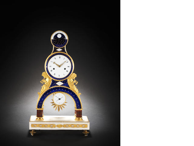 An early 19th century French enamelled ormolu mantel clock G. Joly, Paris
