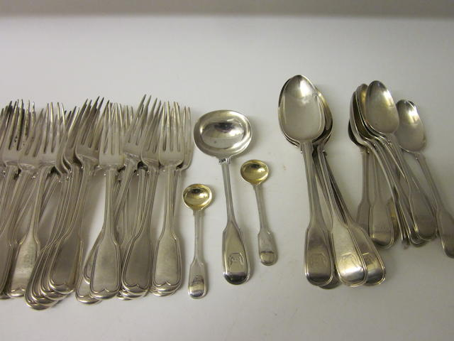 A composite canteen of George IV/Victorian silver fiddle, thread and shell pattern flatware   Mixed dates and makers  (Qty)