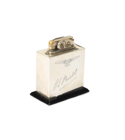 A sterling silver 'SS Jaguar' desk lighter, by the Birmingham Medal Co., British, 1937,