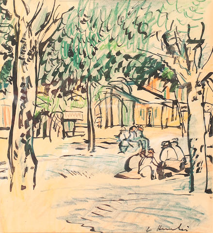 George Leslie Hunter (British, 1877-1931) Street in Provence 33.5 x 31 cm. (13 3/16 x 12 3/16 in.)