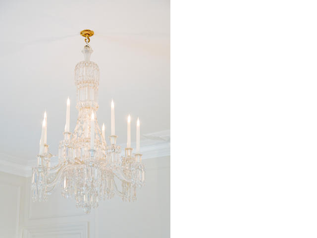 A late 20th century Baccarat twelve light cut glass tent and waterfall chandelier