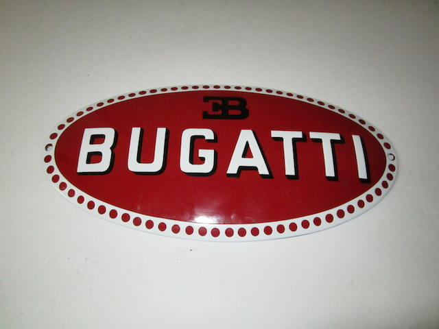 An enamelled Bugatti sign, modern,