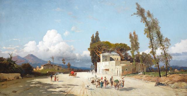 Hermann David Salomon Corrodi (Italian, 1844-1905) Strada di paese