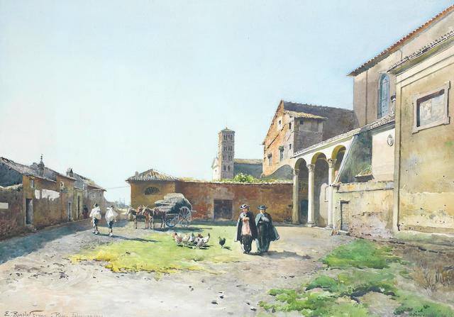 Ettore Roesler Franz (Italian, 1845-1907) Sta. Sabina e S. Alessio sull'Aventino