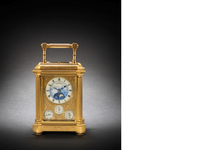 A fine and rare late 19th century French gilt brass grande sonnerie carriage clock with moonphase and calendar Le Roy & Cie, 78 Bd. de la Madeleine 7 á Paris, number 18353
