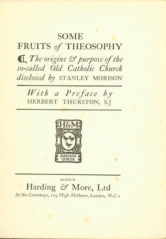 MORISON (STANLEY) Some Fruits of Theosophy, 1919