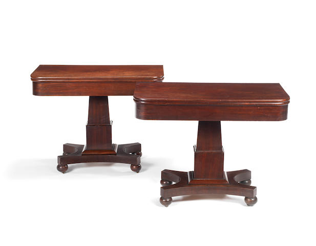 A pair of William IV mahogany tea tables