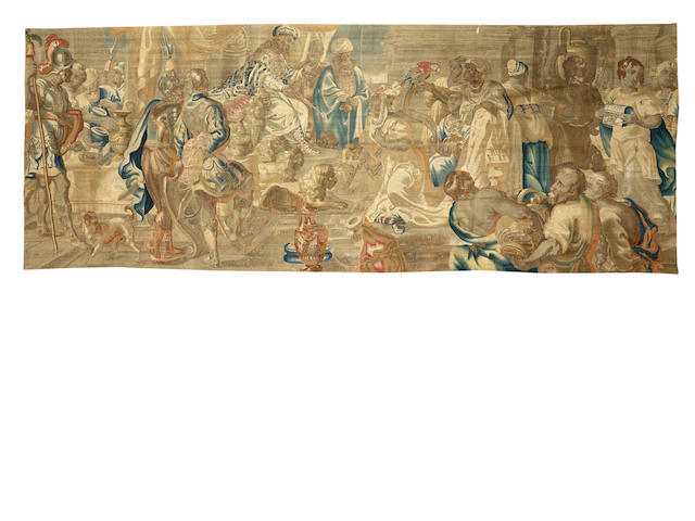 An 18th century Flemish Biblical tapestry, depicting the Queen of Sheba before King Soloman 628cm x 244cm