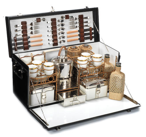 A fine cased picnic set for six persons, by G W Scott & Sons, circa 1910,