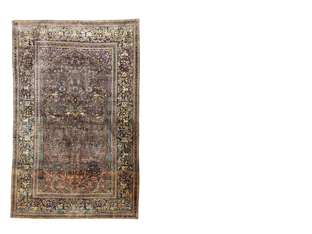 A silk Kashan prayer rug, Central Persia, 205cm x 130cm