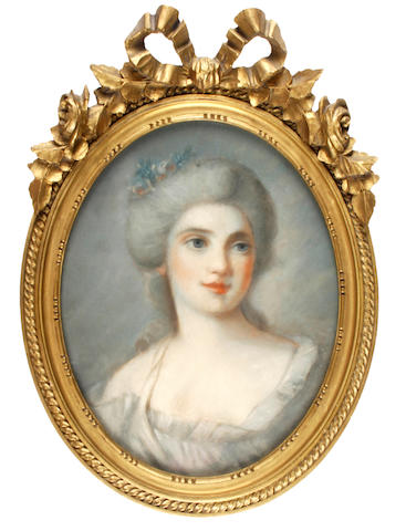 English School, late 18th/early 19th Century Portrait of a lady, shoulder length, (oval)
