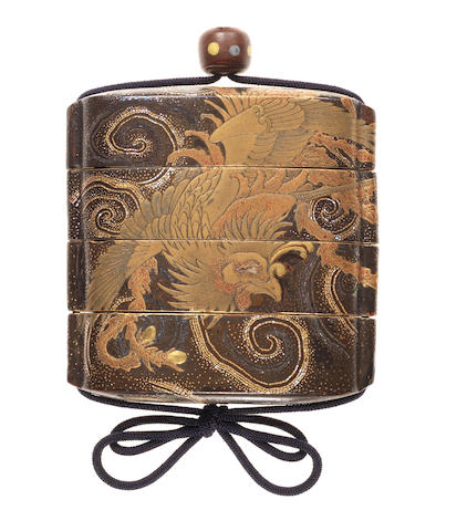 A large lacquer three-case inro By Genrin, 18th century
