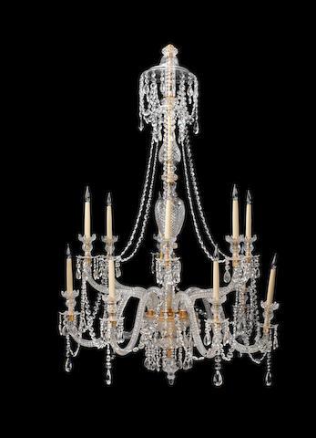 An impressive cut glass twelve light chandelierin the Georgian style
