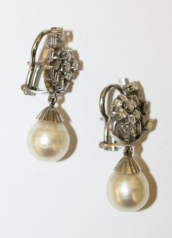 A pair of cultured pearl and diamond earpendants,