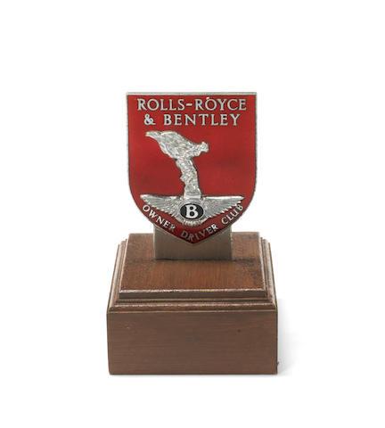 A Rolls-Royce & Bentley Owner Driver Club enamel car badge,