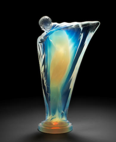 A fine Art Deco 'Draped Nude' glass mascot, by Lucile Sevin for Etling, French, introduced 1932,