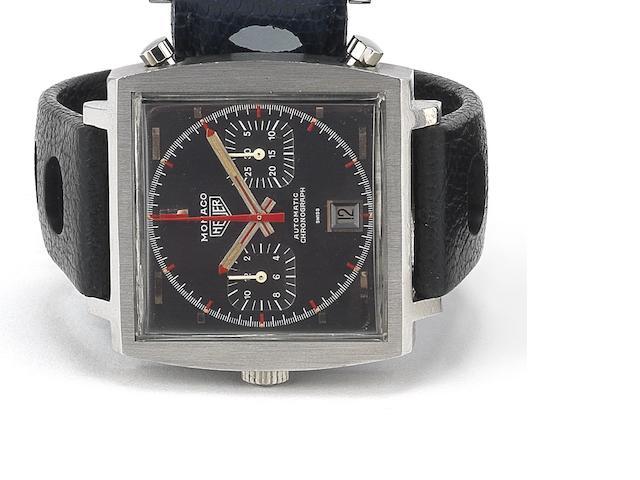 Heuer. A stainless steel automatic calendar chronograph calendar wristwatchMonaco, Ref:1133G, Case No.158830, Circa 1970