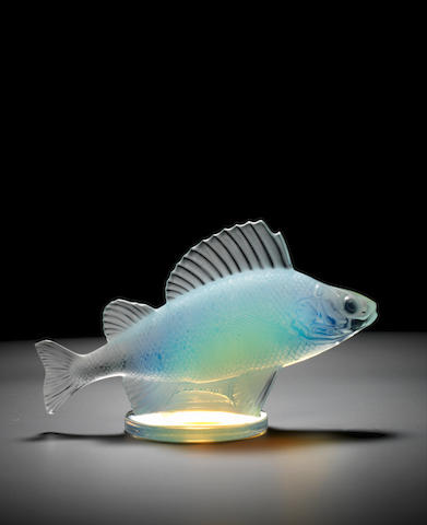 A pre-War 'Perche' mascot in opalescent glass, by Rene Lalique, French, introduced 20th April 1929,