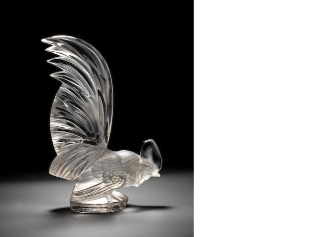 A pre-War 'Coq Nain' glass mascot, by Rene Lalique, French, introduced 10th February 1928,