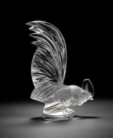 A post-War 'Coq Nain' glass mascot, by Lalique, French,