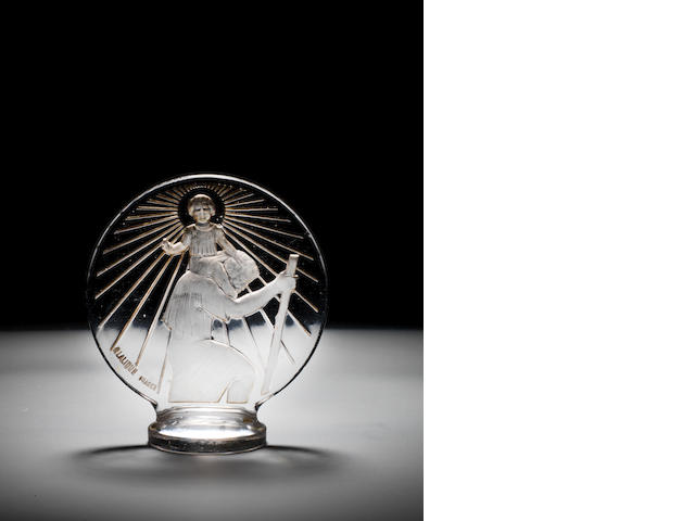 A 'St.Christopher' glass mascot, by Rene Lalique, introduced 1st March 1928,
