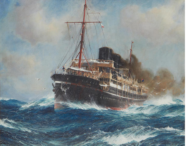 Jack Spurling (British, 1871-1933) The steam ship Osiris