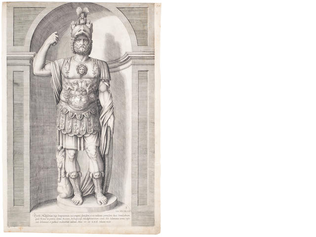 Various Artists A Collection of 16th Century Dutch Prints Including Jacob Bos 'Colossal Statue of Mars, called Pyrrhus' (H14), 1562, three engravings after Abraham Bloemaert 'King David' (H497), by Crispijn de Passe and two by W.Swanenburg 'Saulus Rex' and 'St Paul', one of a tomb by Cornelis Bloemaert, a chiaroscuro woodcut 'Holy Family' by F.Bloemaert, Zacharias Dolendo after B.Spranger 'St Martin dividing his cloak' (H44), Jan Sadeler after Maerten de Vos 'Oriens' and 'Meridies', c.1580, from the Four Winds series, two scenes from the Life of Elijah by Pieter Furnius, together with engravings by A.Colleart and R.Sadeler, all on laid Coll unframed