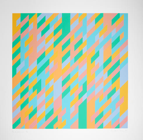 Bridget Riley (British, born 1931) To Midsummer Screenprint in colours, 1989, on wove, signed, titled, dated and numbered 14/100 in pencil, printed by Graham Henderson, London, with the Advanced Graphics blindstamp, published by 3i Group, with full margins, 927 x 915mm (31 1/2 x 36in)(SH)