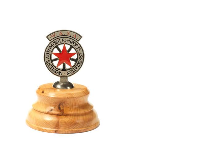 A rare Women's Automobile & Sports Association enamel car badge, circa 1930,