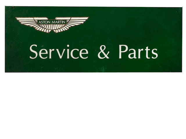 An 'Aston Martin Service & Parts' hanging tin sign,