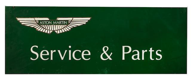 An 'Aston Martin Service & Parts' hanging tin sign,