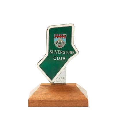 A BRDC Silverstone Club enamel car badge,