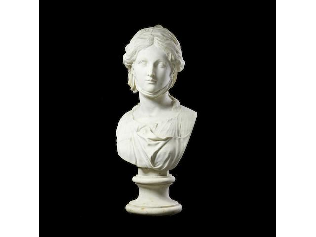 A late 18th / early 19th century Anglo -Italian carved white marble bust of a classical maiden, probably a Roman empress,
