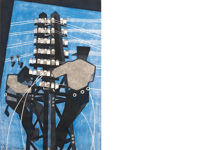 Lill Tschudi (Swiss, 1911-2001) Fixing the Wires (LT 26) Linocut printed in black, greyish beige and light blue, 1932, a richly inked impression, on thin off-white oriental laid,  signed and numbered 3/50 and inscribed 'USA' in pencil, from the USA edition printed in 1937, with margins, 302 x 202mm (12 x 8in) (B)