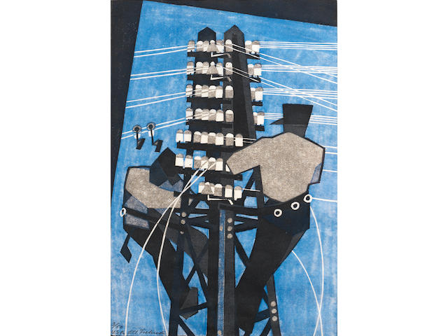 Lill Tschudi (Swiss, 1911-2001) Fixing the Wires (Coppel LT 26) Linocut printed in black, greyish beige and light blue, 1932, a richly inked impression, on thin off-white oriental laid,  signed and numbered 3/50 and inscribed 'USA' in pencil, from the USA edition printed in 1937, with margins, 302 x 202mm (12 x 8in)(B)