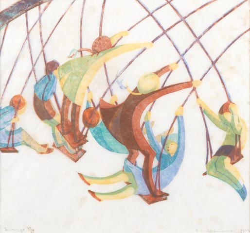 Ethel Spowers Swings Swings (Coppel ES 22)  Linocut printed in yellow ochre, viridian, reddish brown and cobalt blue, 1932, on buff oriental laid tissue, signed, titled, dated and numbered ../50 in pencil, 236 x 261mm (9 1/4 x 10 1/4in)(B) CHECK PAPER