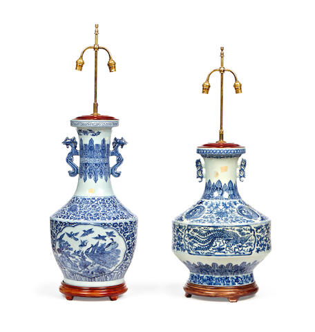 Two Chinese blue and white porcelain vase lampbases
