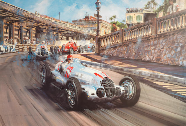 Four limited edition signed prints including two signed by Fangio,