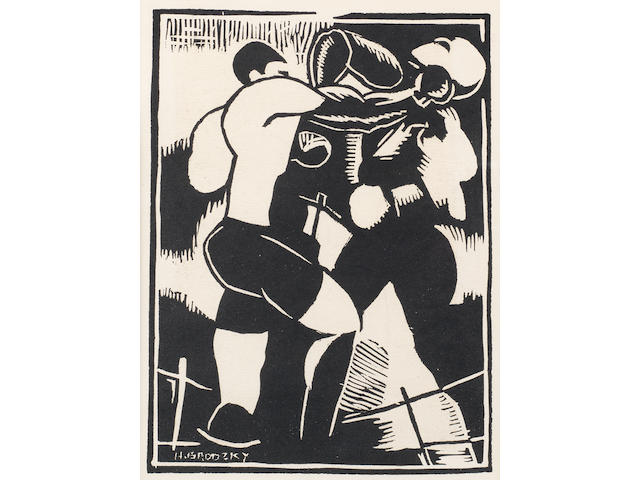 Horace Asher Brodzky (Australian, 1885-1969) Boxers The rare linocut printed in black, 1919, on wove, published by Egmont News, New York, with margins, 247 x 184mm (9 3/4 x 7 1/4in) (B)