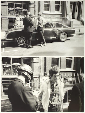 A limited edition photo-print of Mick Jagger and his Aston Martin DB6,