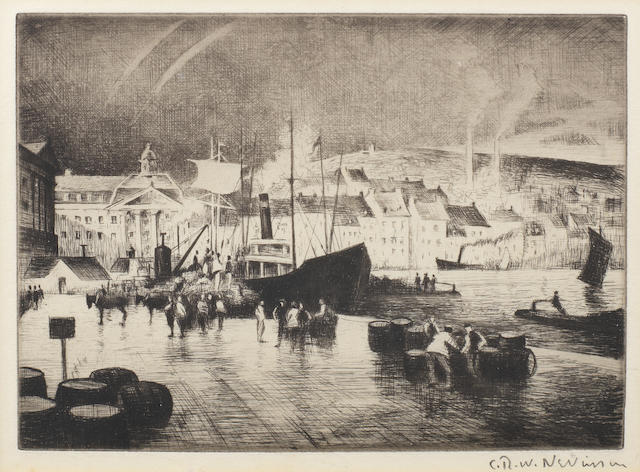 Christopher Richard Wynne Nevinson A.R.A. (British, 1889-1946) Le Port The very rare etching, possibly aquatinted in the sky executed between 1922-1932  on J.F Head & Co. watermarked laid,  signed in pencil, with margins,  (PL)