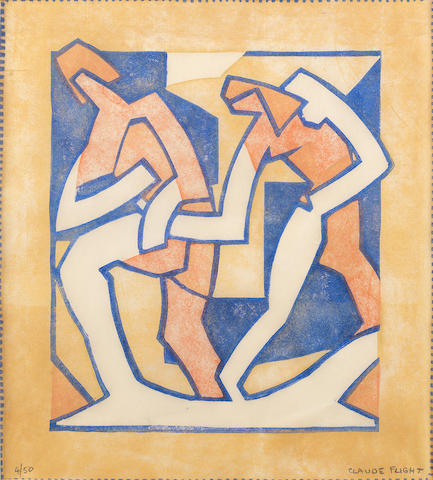 Claude Flight (British, 1881-1955) Persuasion Linocut printed in yellow ochre, vermilion and cobalt blue, c.1929, on thin cream oriental laid, signed and numbered 4/50 in pencil, additionally titled in the lower margin, with margins, 300 x 268mm (12 x 10 1/2in)(B)