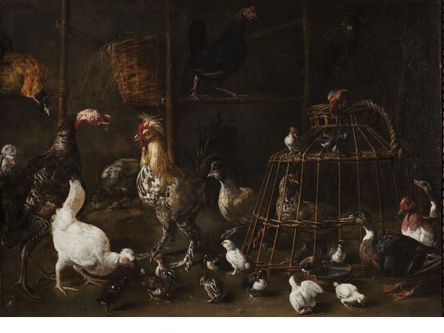 Adriaen van Utrecht (Antwerp 1599-1653) A barn interior with a turkey, a bantam cockerel, a pheasant and numerous other ornamental fowl