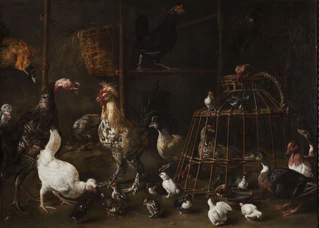 Adriaen van Utrecht (Antwerp 1599-1653) A barn interior with a turkey, a bantam cockerel, a pheasant and numerous other ornamental fowl