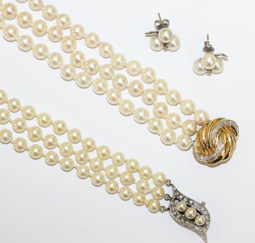 Two cultured pearl necklaces and a pair of earstuds, (3)