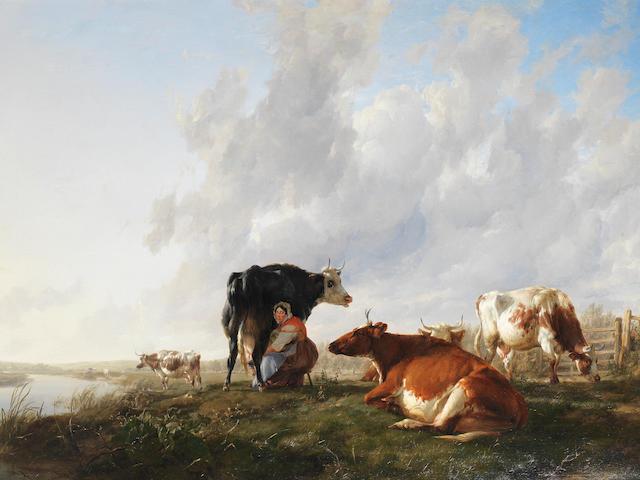 Thomas Sidney Cooper RA (British, 1803-1902) The milkmaid